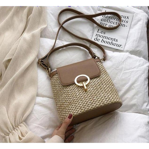 Small Straw Brown Bucket Bag