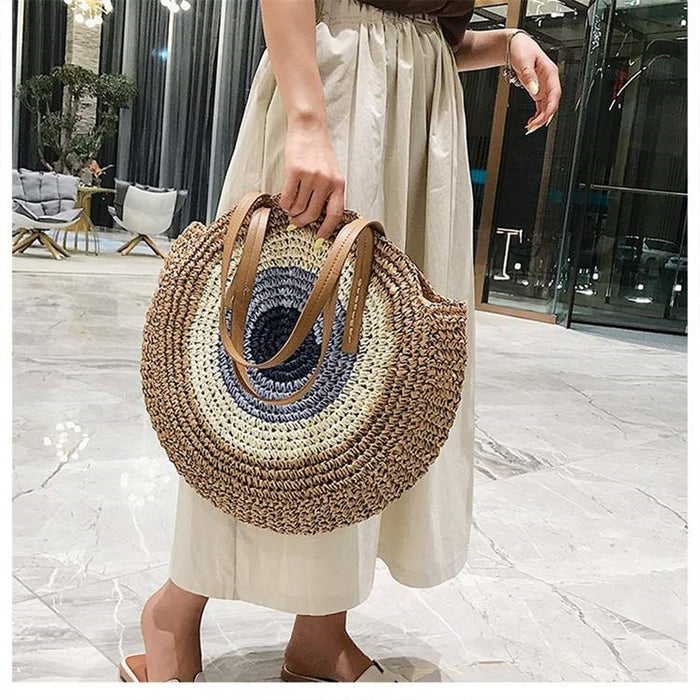 Round Bohemian Casual Handmade Brown Bag