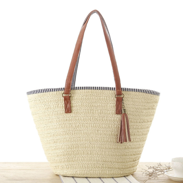 Simple Shoulder Woven Beige Bag