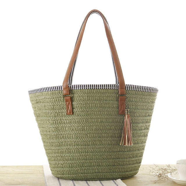 Simple Shoulder Woven Army Green Bag