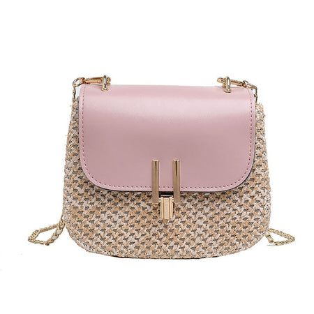 Summer Rattan Square Pink Bag