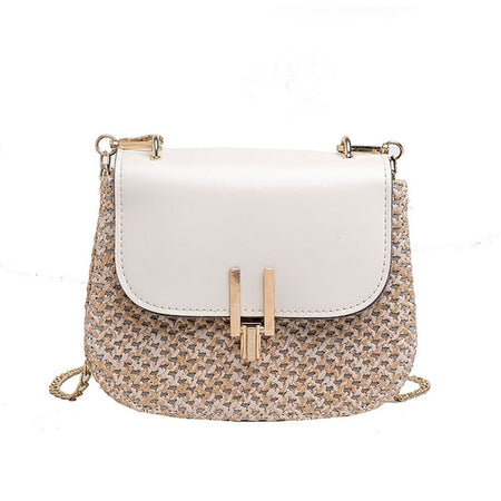Summer Rattan Square White Bag