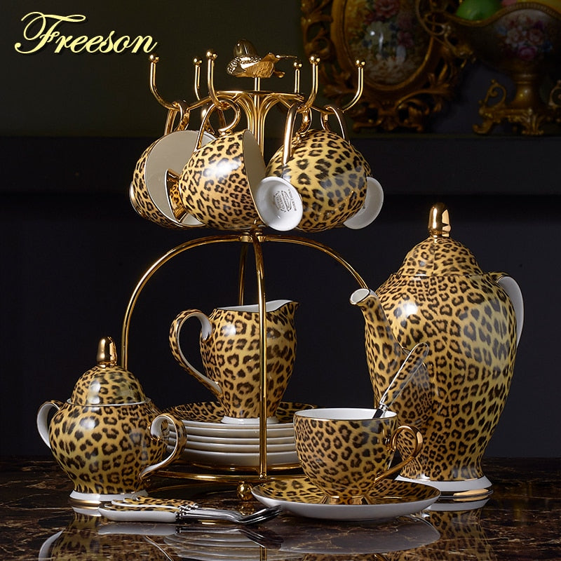 Leopard Print Bone China Coffee Set Luxury Porcelain Tea Set Pot Cup Ceramic Mug Sugar Bowl Creamer Teapot Drinkware Coffeeware