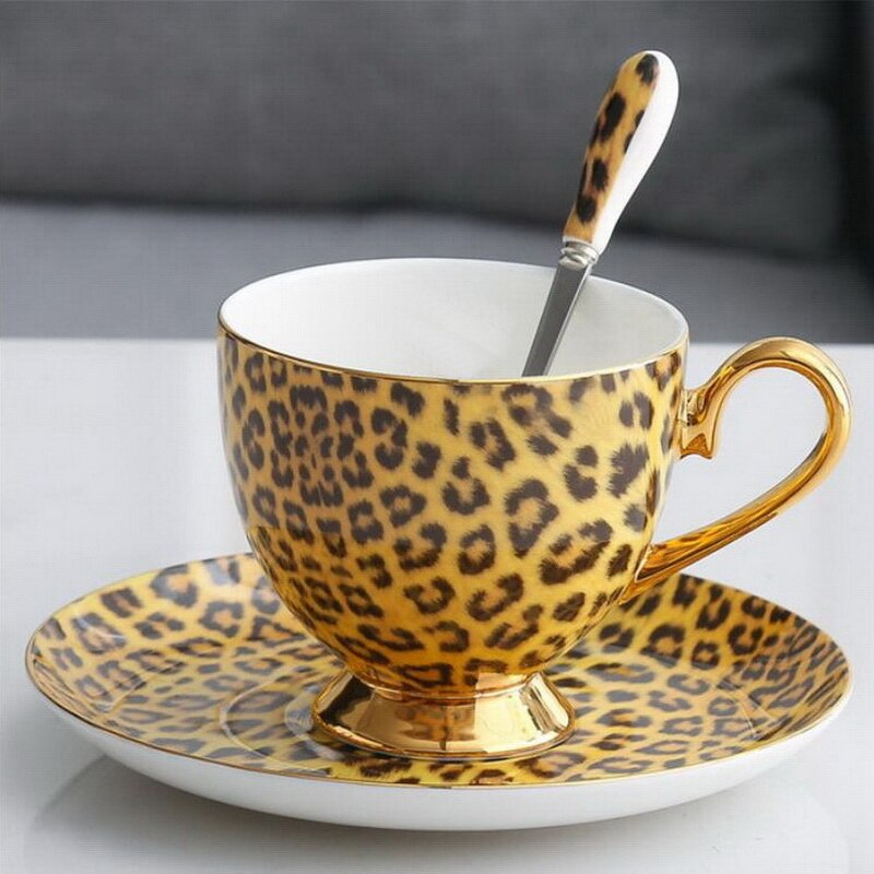 Leopard Print Bone China Coffee Cup And Saucers Set