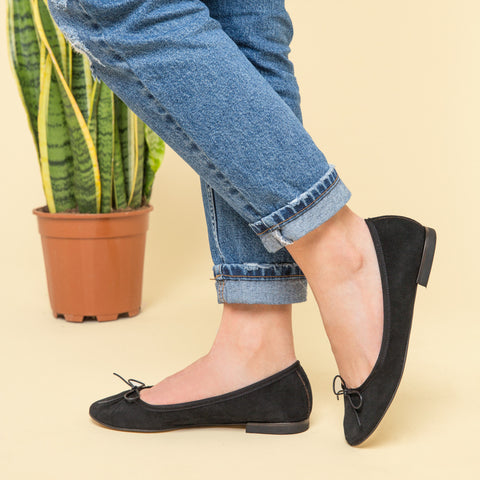 black suede ballet flats - pretty small shoes - house of petite