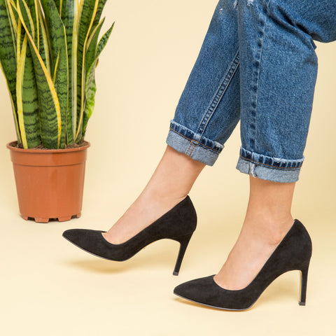 black suede courts heels - pretty small shoes - house of petite