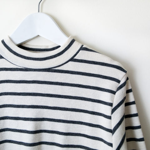 Stripe High Neck Top - house of petite