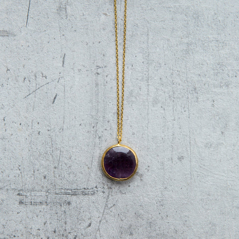 amethyst druzy gold necklace - naviya london