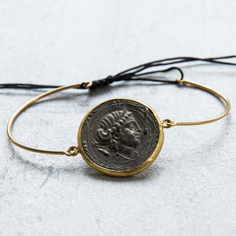 Gold antique coin bracelet