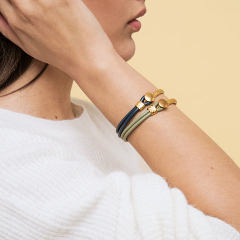 leather gold ottoman bracelet - naviya london