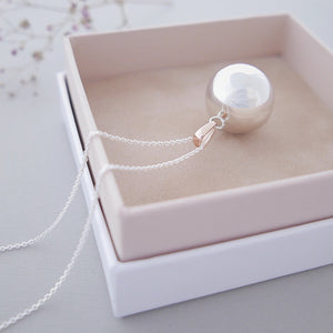 polished hallmarked sterling silver Mexican bola pregnancy necklace with 9ct rose gold bail in luxury packaging