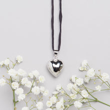 Load image into Gallery viewer, silver plated heart shaped Mexican bola pregnancy necklace with black hand dyed silk cord
