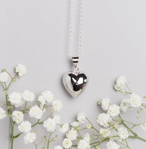 Silver plated heart shaped Mexican bola pregnancy necklace