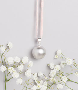 Satin Silver Plated Pregnancy Necklace on Silk Cord