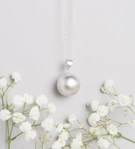 Satin Silver Plated Pregnancy Necklace