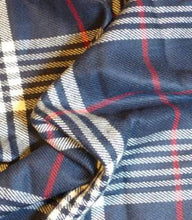 Load image into Gallery viewer, Bandana - Blueberry - Blue & White Plaid Flannel Frayed Tie On Handcrafted Scarf