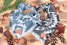 Load image into Gallery viewer, Bandana - Shawnee - Aztec Blue or Gray Bohemian Woven Tribal Southwest Frayed Tie On Fall Scarf