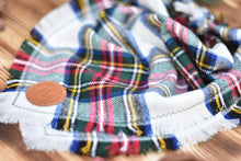 Load image into Gallery viewer, Bandana - Smokehouse 2 - White, Red & Green Plaid Flannel Frayed Tie On Handcrafted Scarf