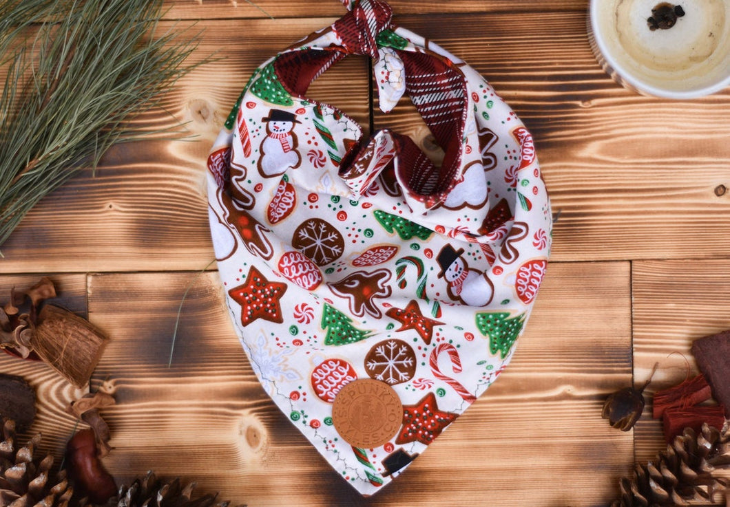 Bandana - Gingerbread Cookies - Christmas White, Red, & Green Winter Festive Tie On Handcrafted Scarf