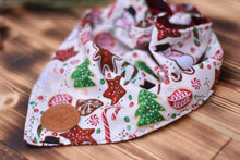 Load image into Gallery viewer, Bandana - Gingerbread Cookies - Christmas White, Red, & Green Winter Festive Tie On Handcrafted Scarf