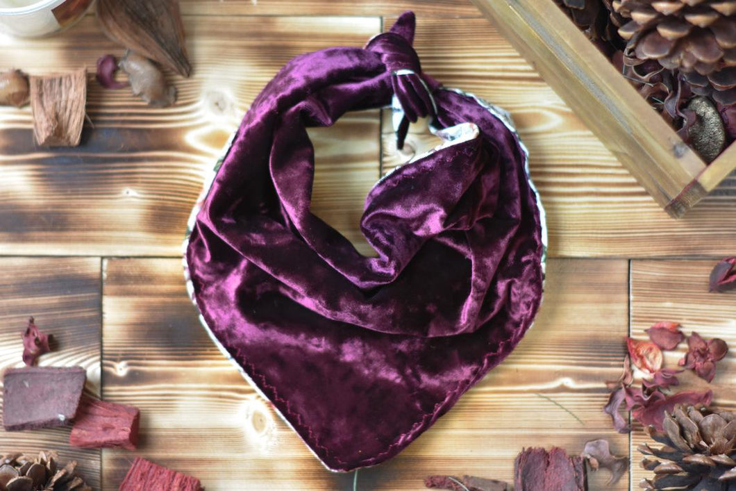 Bandana - Red Merlot // Maroon Luxe Velvet Velour Reversible Tie On Scarf