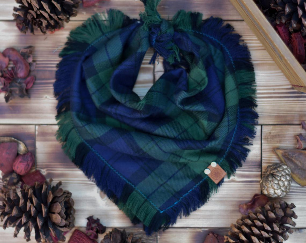 Bandana - Emerald Ridge - Green & Blue Plaid Flannel Frayed Tie On Handcrafted Scarf