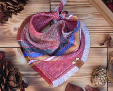 Load image into Gallery viewer, Bandana - Primrose - Aztec Pink & White Bohemian Woven Tribal Southwest Frayed Tie On Acrylic Fall Scarf