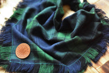 Load image into Gallery viewer, Bandana - Emerald Ridge - Green & Blue Plaid Flannel Frayed Tie On Handcrafted Scarf