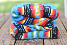 Load image into Gallery viewer, Fleece Blanket - Black or Blue Sedona Southwest Aztec Tribal Polyester Large Throw