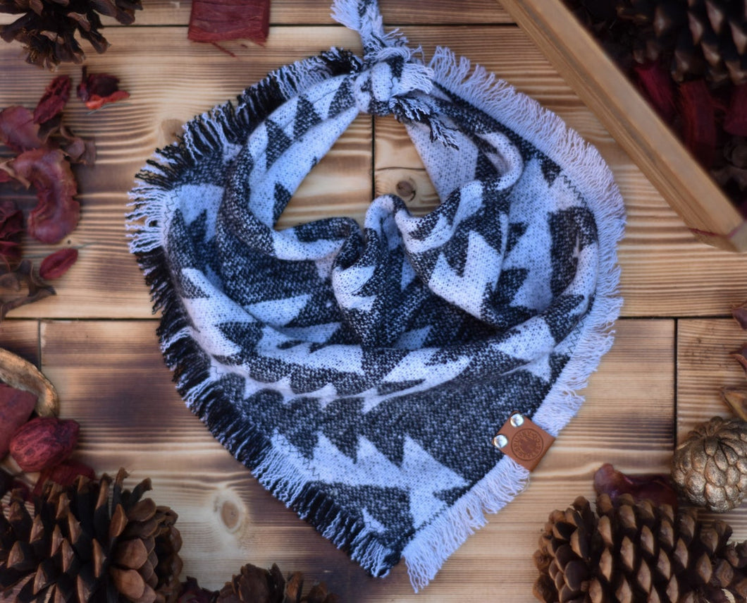 Bandana - Shawnee - Aztec Blue or Gray Bohemian Woven Tribal Southwest Frayed Tie On Fall Scarf