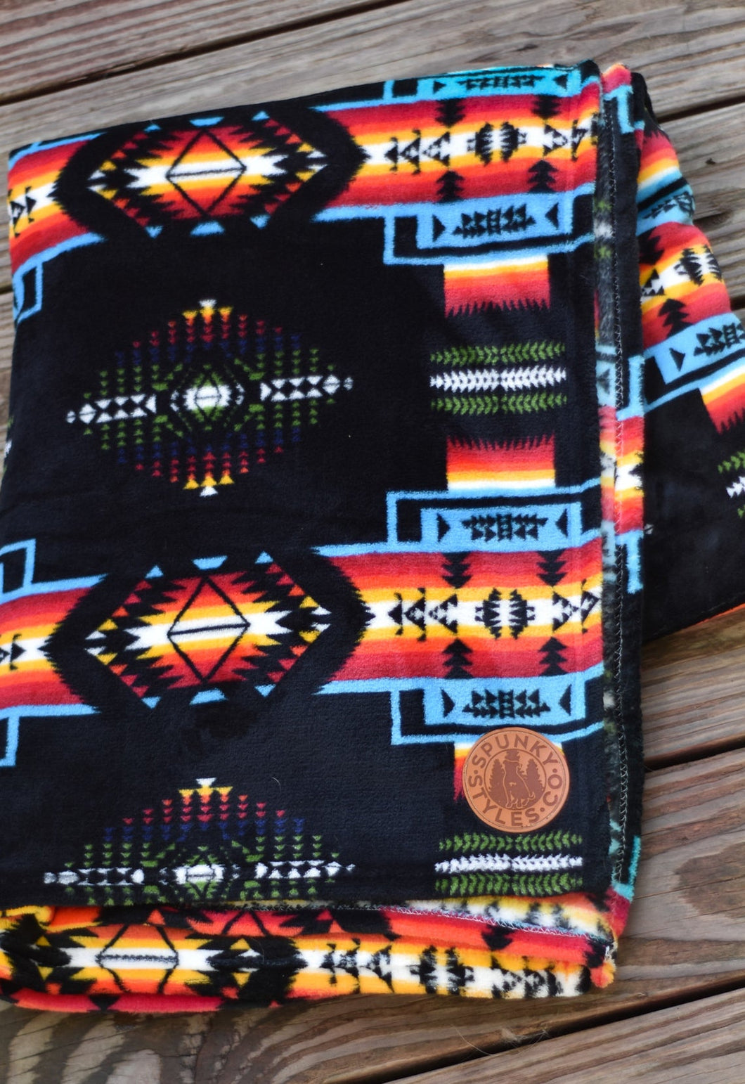 Fleece Blanket - Black or Blue Sedona Southwest Aztec Tribal Polyester Large Throw