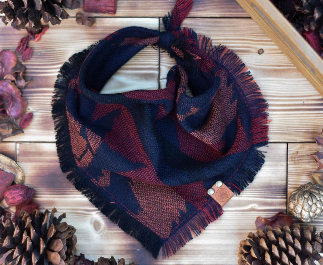 Bandana - Machu Picchu - Aztec Red & Black Bohemian Woven Tribal Southwest Frayed Tie On Fall Scarf