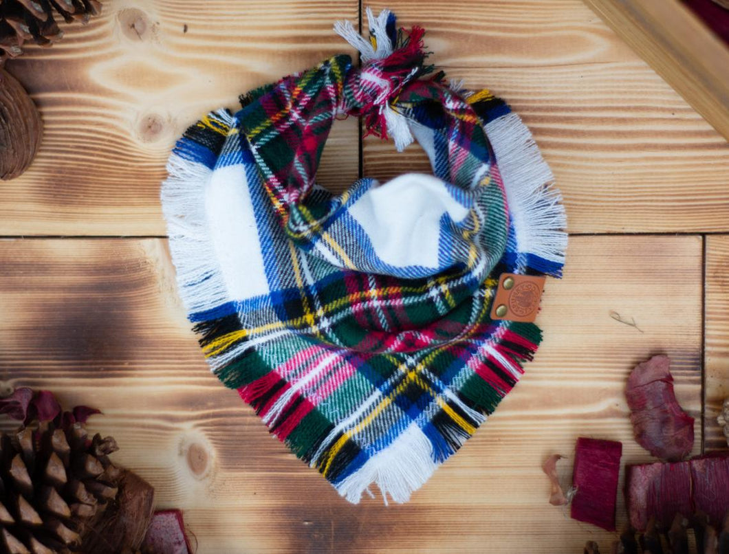 Bandana - Smokehouse 2 - White, Red & Green Plaid Flannel Frayed Tie On Handcrafted Scarf