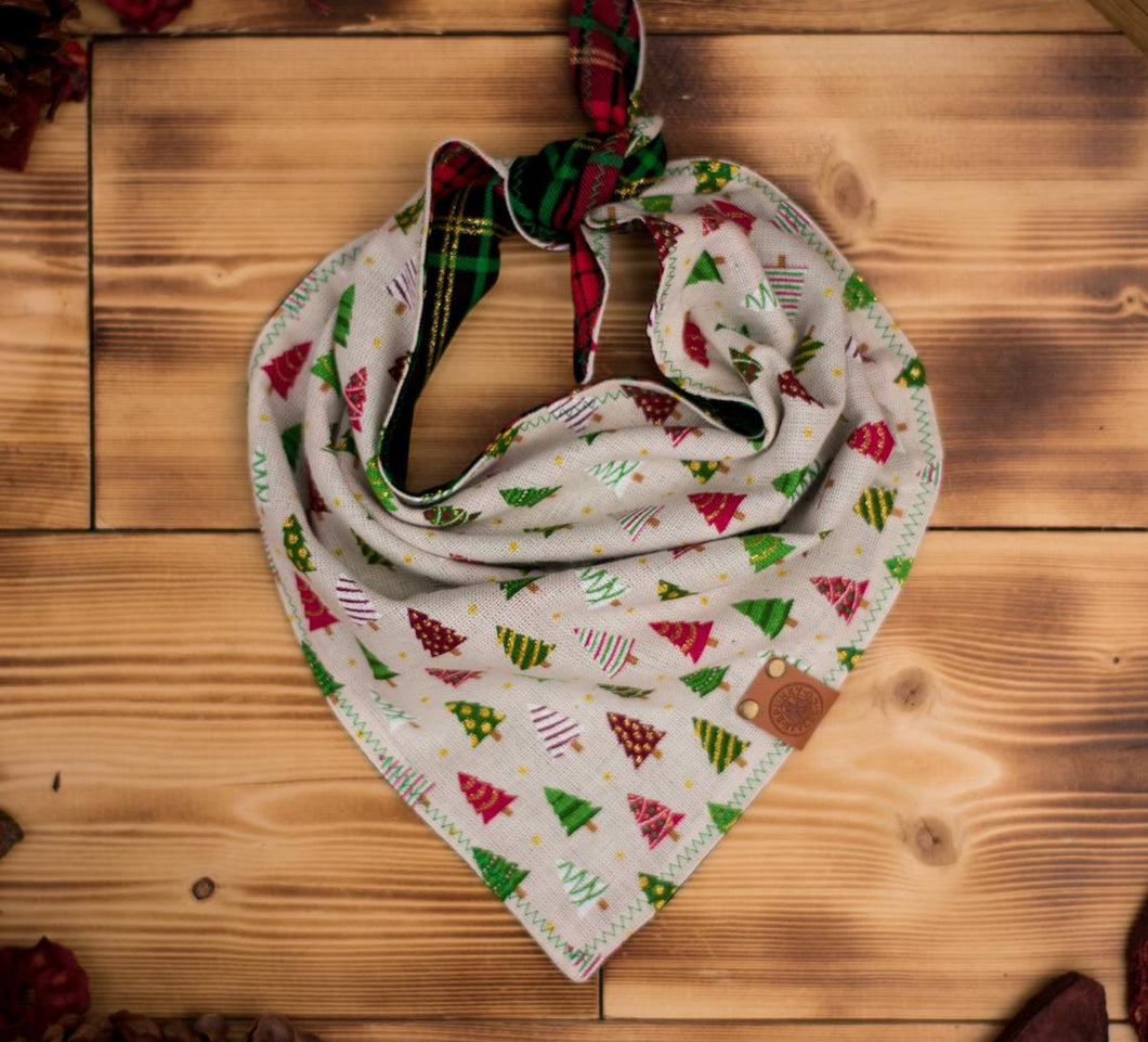 Bandana - Holly Jolly - Christmas Cream Red & Green Winter Festive Tie On Handcrafted Scarf