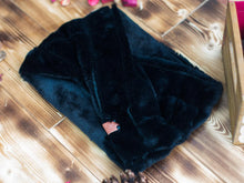 Load image into Gallery viewer, Infinity Scarf - Baltic - Black Faux Fur Fluffy Winter Super Soft Cozy Slip On Handcrafted Scarf
