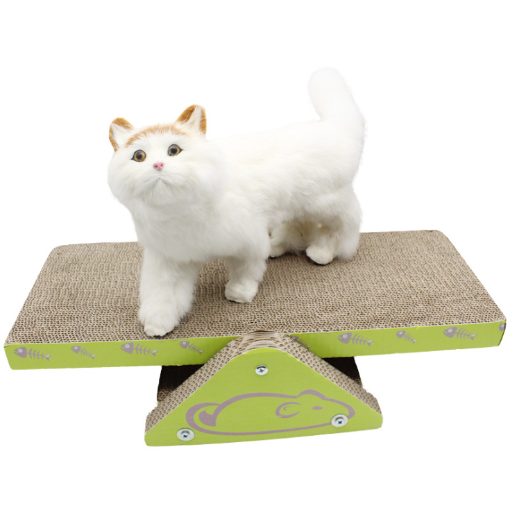 Cat scratching board seesaw