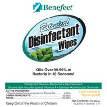 Load image into Gallery viewer, BENEFECT Botanical Disinfecting Wipes - Natural, No Residue - Antibacterial Disinfectant, Multi-Surface Cleaning and Sanitizing Wipes (250 Wipe Count)