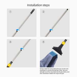 Yocada Looped-End String Wet Mop Heavy Duty Cotton Mop Commercial Industrial Grade Iron Pole Jaw Clamp Floor Cleaning 52in Long