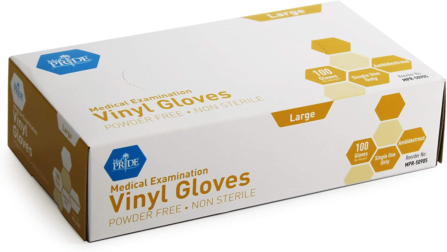 Medpride Medical Vinyl Examination Gloves (Small, 100-Count) Latex Free Rubber