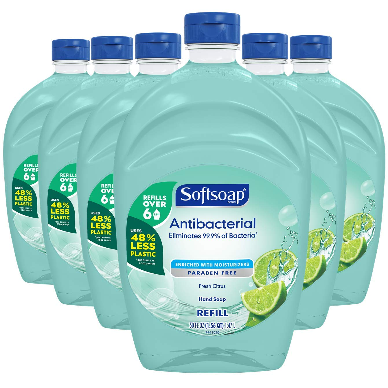 Softsoap - US05266A SOFTSOAP Antibacterial Liquid Hand Soap Refill, Fresh Citrus, 50 Ounce Bottle, Bathroom Soap, Bulk Soap, Moisturizing Antibacterial Hand Soap (Pack of 6)