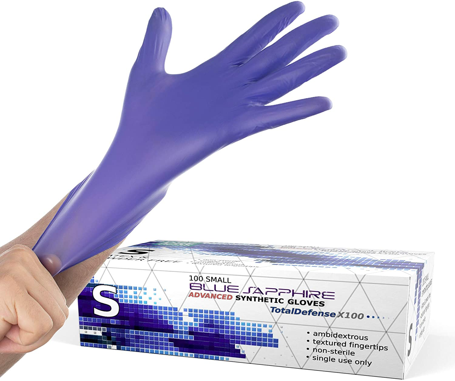 Powder Free Disposable Gloves Small - 100 Pack - Nitrile and Vinyl Blend Material