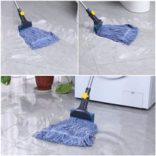 Load image into Gallery viewer, Yocada Looped-End String Wet Mop Heavy Duty Cotton Mop Commercial Industrial Grade Iron Pole Jaw Clamp Floor Cleaning 52in Long