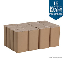 "Load image into Gallery viewer, Pacific Blue Basic Recycled Multifold Paper Towels (Previously branded Envision) by GP PRO (Georgia-Pacific), White, 24590, 250 Towels Per Pack, 16 Packs Per Case (4000 Total), 9.20"" x 9.40"" 24590 - 16 Packs/Case White"