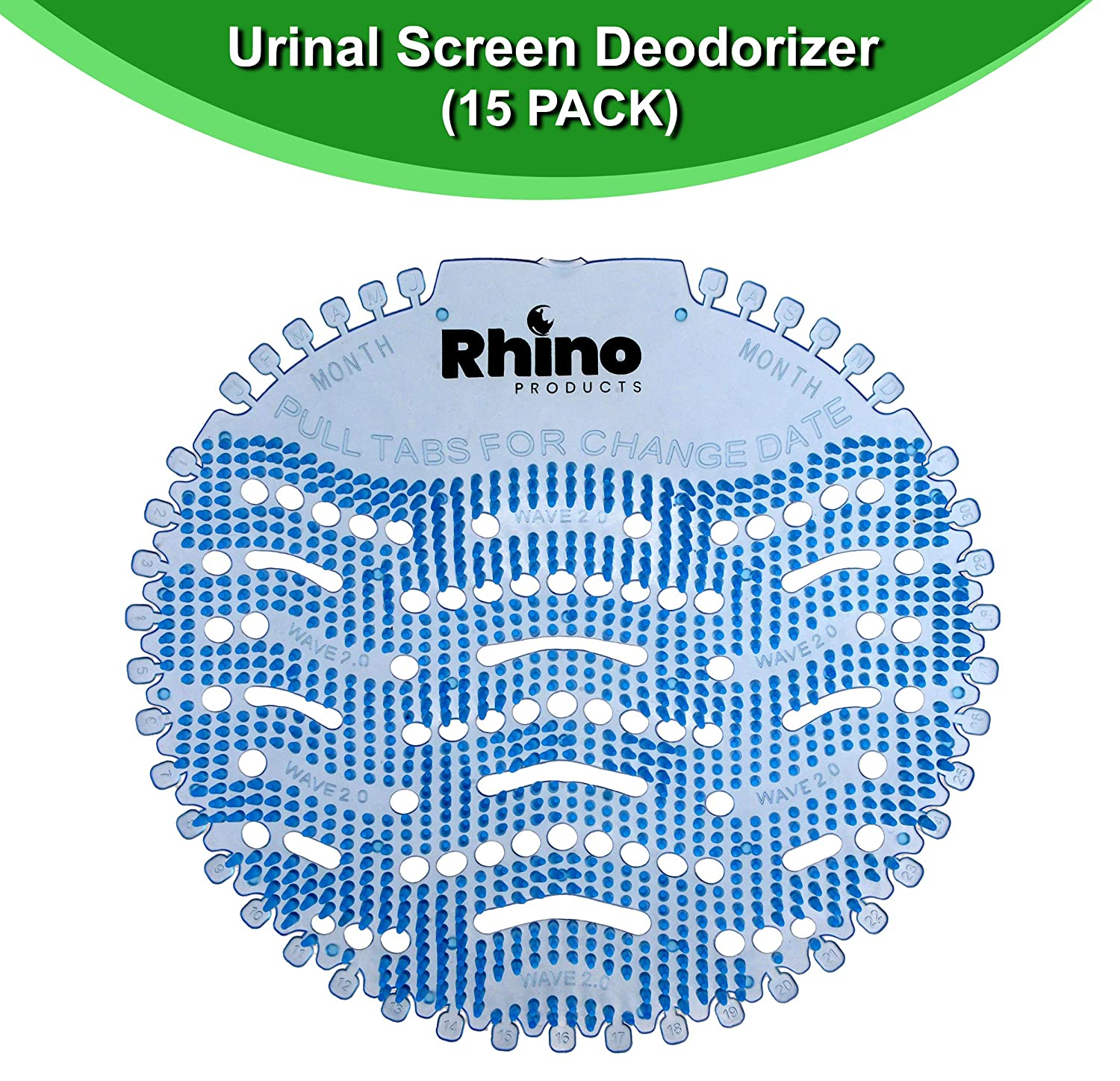 Rhino Products Urinal Screens Deodorizer - 15 Pack - Anti-Splash Urinal Screen and Odor Neutralizer with Fresh Lemon Scent - Ideal for Restrooms at Home, Offices, Schools, and Malls