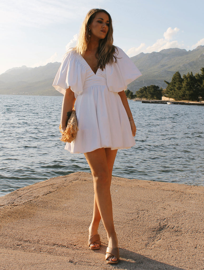 Extra Puff Sleeved Dress #limited - white