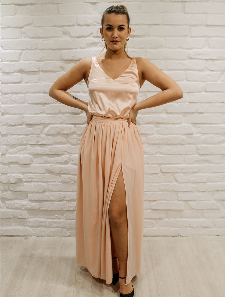 Peach maxidress