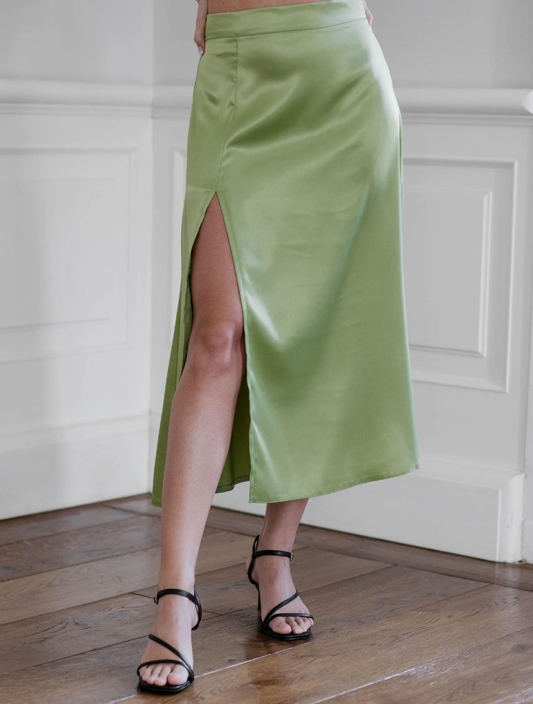 Mya skirt - apple green satin