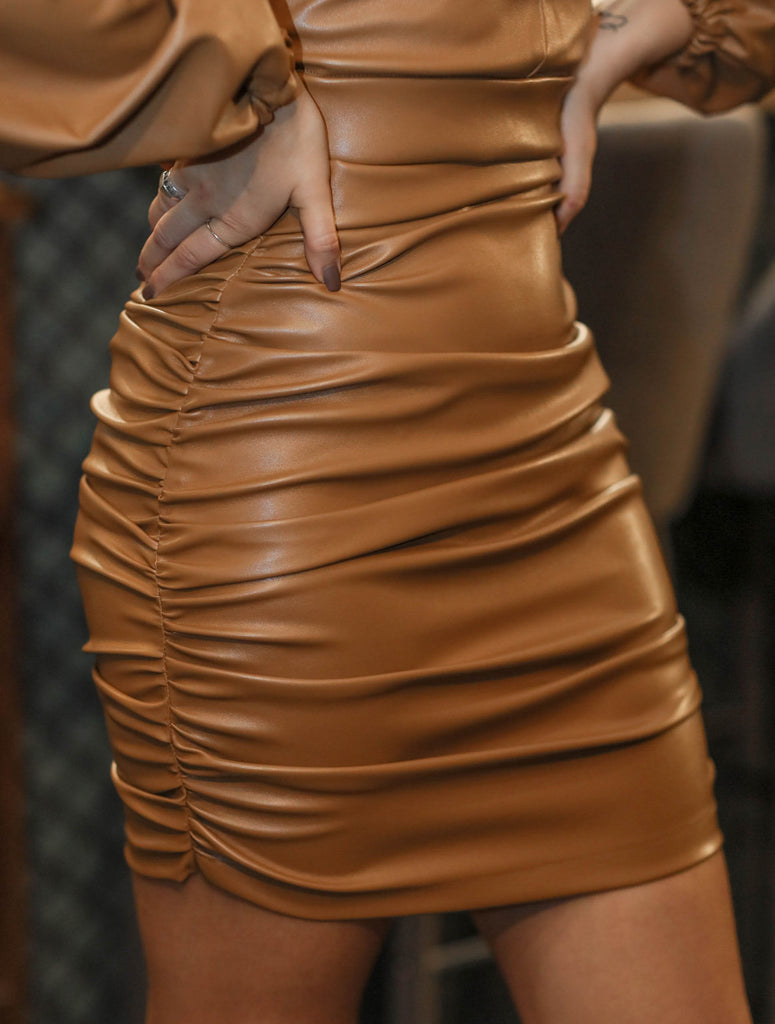 Nia faux leather skirt - camel