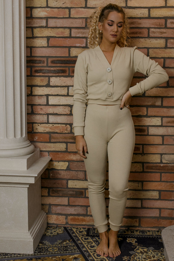 Knitted leggings - beige