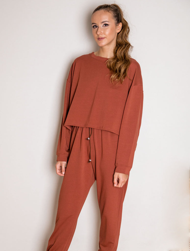 Sweatpants - brick color